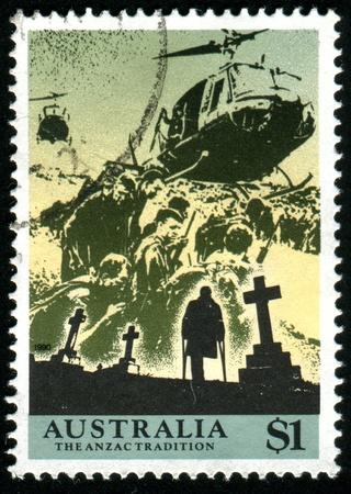 AUSTRALIA - CIRCA 1990: stamp printed by Australia, shows Anzacs at the front, circa 1990 photo