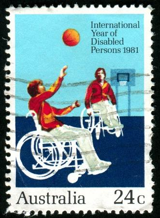 invalidity: AUSTRALIA - CIRCA 1981: stamp printed by Australia, shows Disabilities to play basketball, circa 1981 Stock Photo