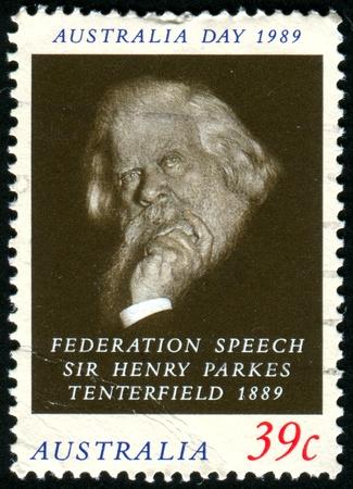 AUSTRALIA - CIRCA 1989: stamp printed by Australia, shows Sir Henry Parkes, circa 1989 報道画像