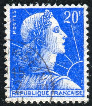 marianne: FRANCE - CIRCA 1955: stamp printed by France, shows Marianne, circa 1955
