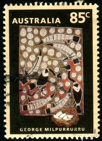 AUSTRALIA - CIRCA 1900: stamp printed by Australia, shows Aboriginal Art, Goose Egg Hunt, by George Milpurrurru, circa 1900 photo