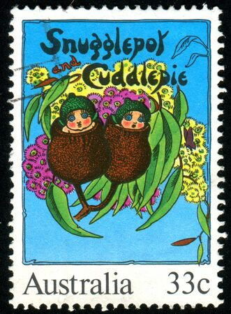 AUSTRALIA - CIRCA 1985: stamp printed by Australia, shows Illustrations from classic children�s books, Snugglepot and Cuddlepie, by May Gibbs, circa 1985 illustration