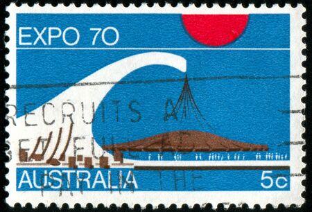 AUSTRALIA - CIRCA 1970: stamp printed by Australia, shows Symbols of EXPO  photo