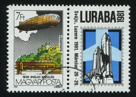 graf: HUNGARY - CIRCA 1981: stamp printed by Hungry, shows Graf Zeppelin Flights, circa 1981.