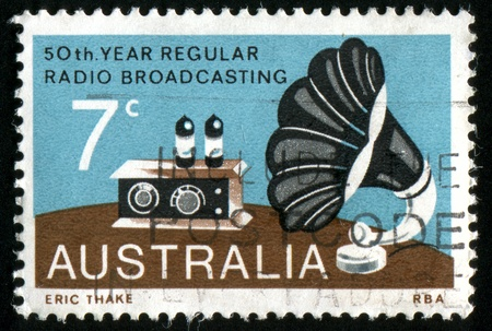 AUSTRALIA - CIRCA 1973: stamp printed by Australia, shows Radio and Gramophone Speaker, circa 1973 photo