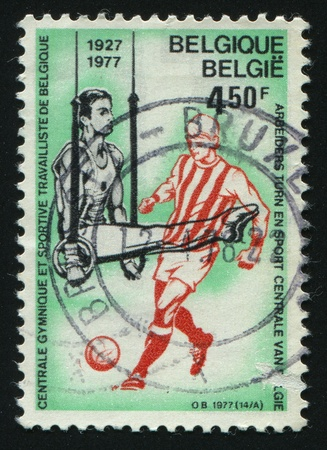 BELGIUM - CIRCA 1977: stamp printed by Belgium, shows soccer players and ball, circa 1977. Stock Photo - 8591080