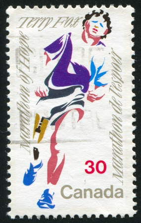 CANADA - CIRCA 1982: stamp printed by Canada, shows Terry Fox, circa 1982 Stock Photo - 8608566