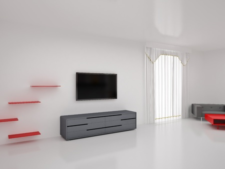living room wall: Modern TV in room. Interior of the modern room. High resolution image. 3d rendered illustration. Stock Photo