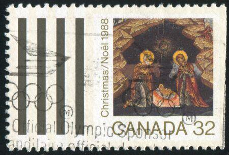 canada stamp: CANADA - CIRCA 1988: stamp printed by Canada, shows Christmas, circa 1988 Stock Photo
