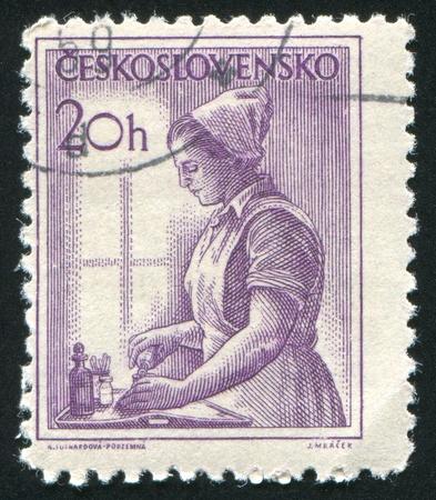 CZECHOSLOVAKIA - CIRCA 1954: stamp printed by Czechoslovakia, shows Nurse, circa 1954