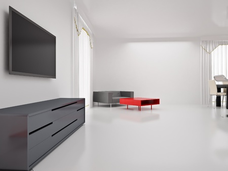 Modern TV in room. Interior of the modern room. High resolution image. 3d rendered illustration. Stock Photo