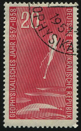 geophysical: GERMANY- CIRCA 1957: stamp printed by Germany, shows Balloon, Geophysical Year, circa 1957.