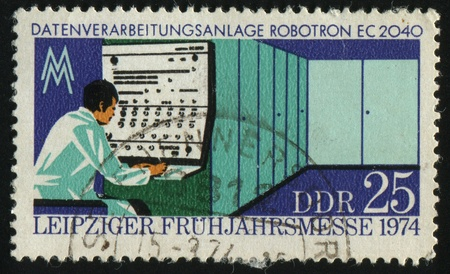 ec: GERMANY- CIRCA 1974: stamp printed by Germany, shows Robotron EC 2040, circa 1974 Stock Photo