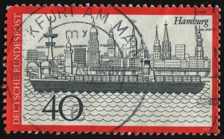 GERMANY- CIRCA 1973: stamp printed by Germany, shows Hamburg harbor, circa 1973. photo