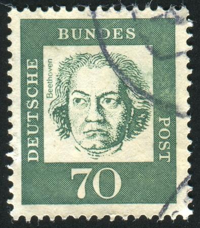 beethoven: GERMANY - CIRCA 1961: stamp printed by Germany, shows Ludwig van Beethoven, circa 1961 Editorial