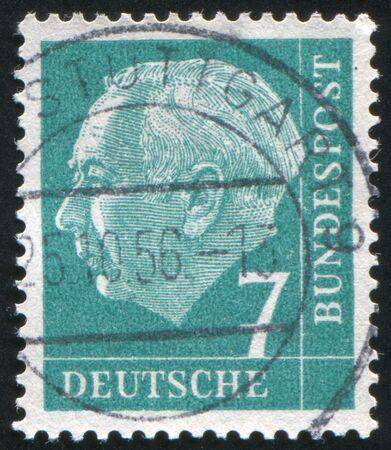 theodor: GERMANY - CIRCA 1954: stamp printed by Germany, shows Theodor Heuss, circa 1954