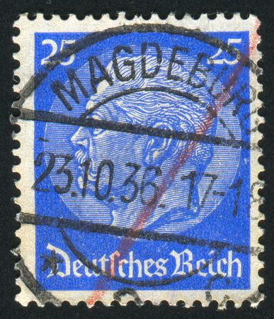 hindenburg: GERMANY - CIRCA 1932: stamp printed by Germany, shows Hindenburg, circa 1932