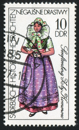GERMANY - CIRCA 1977: stamp printed by Germany, shows Costume Senftenberg, circa 1977 Stock Photo - 8824209