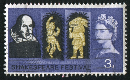 GREAT BRITAIN - CIRCA 1963: stamp printed by Great Britain, shows Shakespeare, circa 1963 Stock Photo - 8824131