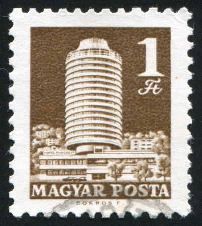 HUNGARY - CIRCA 1969: stamp printed by Hungary, shows hotel Budapest, circa 1969 photo