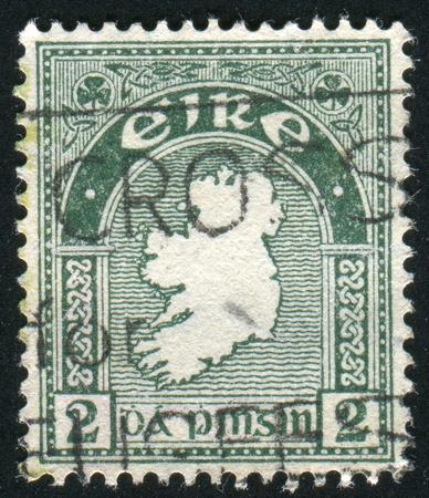 IRELAND - CIRCA 1922: stamp printed by Ireland, shows Map of Ireland, circa 1922 photo