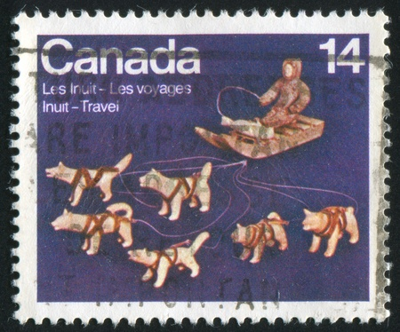 inuit: CANADA - CIRCA 1978: stamp printed by Canada, shows Travels of the Inuit, circa 1978 Stock Photo