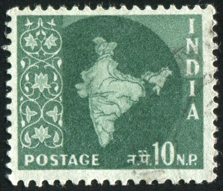 polity: INDIA - CIRCA 1957: stamp printed by India, shows map of India, circa 1957