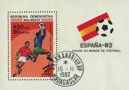 MALAGASY - CIRCA 1982: 1982 World Cup. Spain, circa 1982.