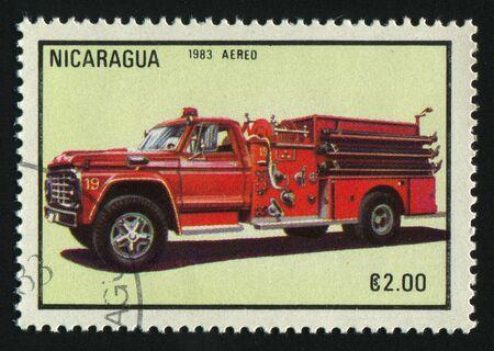 NICARAGUA - CIRCA 1983: stamp printed by Nicaragua, shows firetruck, circa 1983. photo