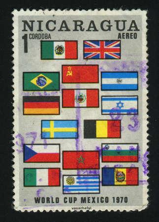 NICARAGUA - CIRCA 1970: stamp printed by Nicaragua, shows flags, circa 1970.