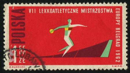 POLAND - CIRCA 1962: 7th European Athletic Championships, Discus, circa 1962. photo