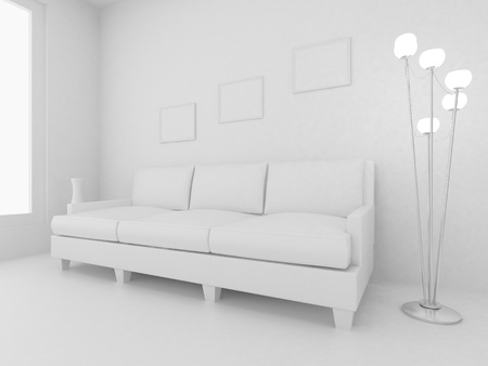 3d render home Interior. High resolution image. Apartments in a modern style. Stock Photo - 8987688
