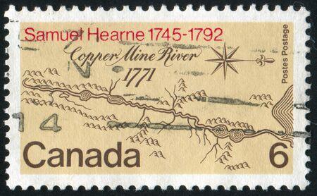 CANADA - CIRCA 1971: stamp printed by Canada, shows Map of Copper Mine River Basin, circa 1971 photo