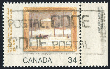 canada stamp: CANADA - CIRCA 1985: stamp printed by Canada, shows Old Holton House by James Wilson Morrice, circa 1985