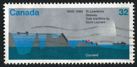 seaway: CANADA - CIRCA 1984: stamp printed by Canada, shows St. Lawrence Seaway, circa 1984