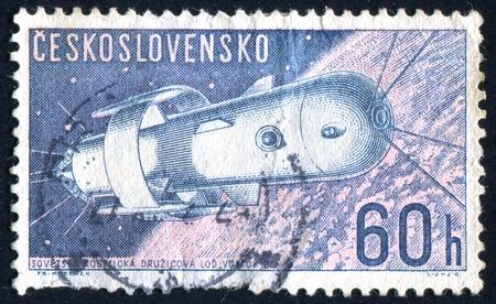 vostok: CZECHOSLOVAKIA - CIRCA 1962: stamp printed by Czechoslovakia, shows Soviet Spaceship Vostok, circa 1962