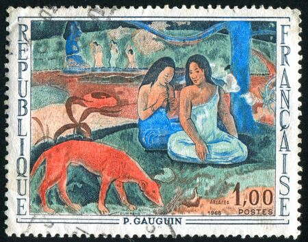 merriment: FRANCE - CIRCA 1968: stamp printed by France, shows Arearea (Merriment) by Paul Gauguin, circa 1968 Stock Photo
