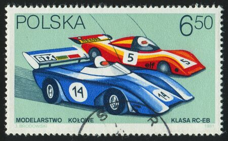 POLAND - CIRCA 1981: stamp printed by Poland, shows radio-controlled racing cars, circa 1981. Stock Photo - 8987776