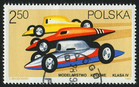 POLAND - CIRCA 1981: stamp printed by Poland, shows radio-controlled racing cars, circa 1981. Stock Photo - 8987779