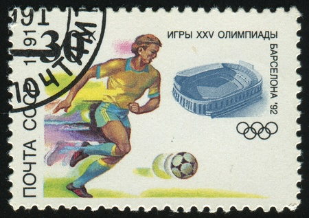 RUSSIA - CIRCA 1991: stamp printed by Russia, shows 1992 Summer Olympic Games, Barcelona, Soccer, circa 1991.