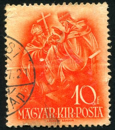archbishop: HUNGARY - CIRCA 1937: stamp printed by Hungary, shows Pope Sylvester II, Archbishop Astrik, circa 1937 Stock Photo