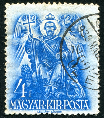 enthroned: HUNGARY - CIRCA 1937: stamp printed by Hungary, shows St. Stephen enthroned, circa 1937