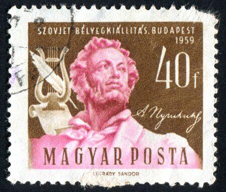 aleksander: HUNGARY - CIRCA 1959: stamp printed by Hungary, shows Aleksander Pushkin, poet, circa 1959