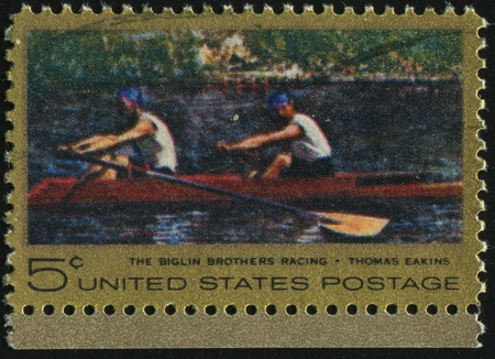sculling: UNITED STATES - CIRCA 1967: stamp printed by United states, shows  Biglin Brothers Racing (Sculling on Schuylkill River Philadelphia), circa 1967.