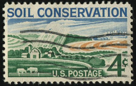soil conservation: UNITED STATES - CIRCA 1959: stamp printed by United states, shows  Soil Conservation, farm, circa 1959