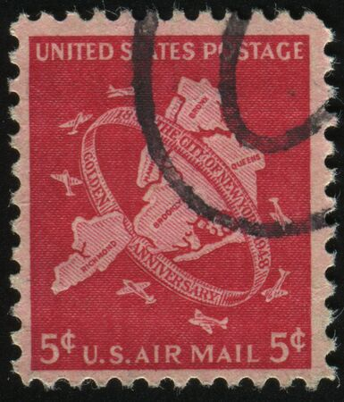 boroughs: UNITED STATES - CIRCA 1948: stamp printed by United states, shows Map of Five Boroughs New York City and Planes, circa 1948.