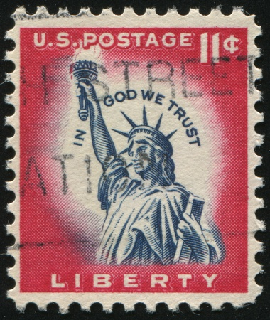 UNITED STATES - CIRCA 1954: stamp printed by United states, shows Statue of Liberty, circa 1954. photo