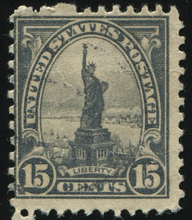 UNITED STATES - CIRCA 1920: stamp printed by United states, shows Statue of Liberty, circa 1920. Stock Photo