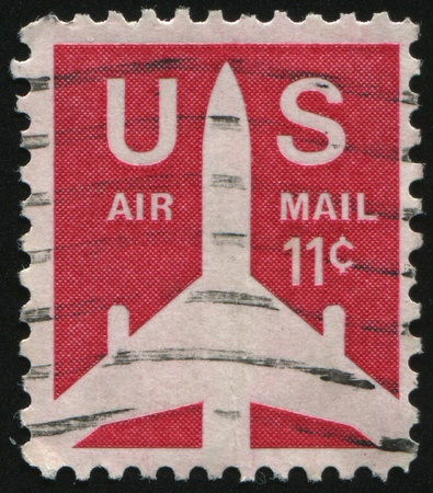 UNITED STATES - CIRCA 1969: stamp printed by United states, shows Silhouette of Jet Airliner, circa 1969. photo