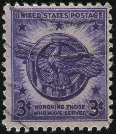 honorable: UNITED STATES - CIRCA 1945: stamp printed by United states, shows Honorable Discharge Emblem, circa 1945.